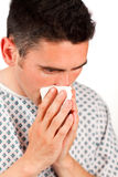 Close-up of a patient sneezing Royalty Free Stock Image