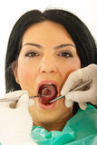 Close up of patient woman at dentist Royalty Free Stock Photography