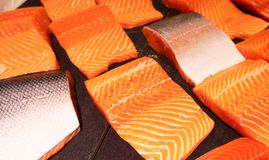 Close up pattern of Fresh red  salmon fillet.  Royalty Free Stock Photo