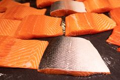 Close up pattern of Fresh red  salmon fillet.  Stock Image