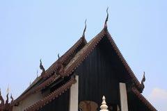 Pattern of wooden roof in Aranyaram temple ,Lamphun,Thailand. Close up Pattern of wooden roof in Aranyaram temple ,Lamphun,Thailand stock photography