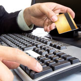 Payment on during using Credit card Royalty Free Stock Photo