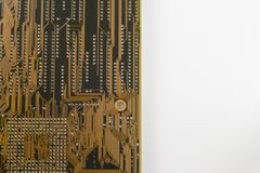 Close up of PC motherboard on the white background / texture. IT Stock Photo