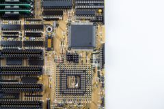 Close up of PC motherboard on the white background / texture. IT Stock Photography