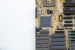 Close up of PC motherboard on the white background / texture. IT Stock Image