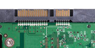 Close-up of PCB. Slightly covered in dust stock images