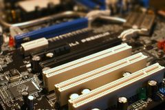 Close Up of PCI Slot on PC Motherboard PC Stock Images