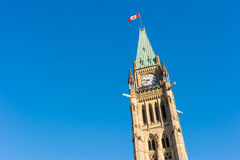 Close up of peace tower  in Ottawa, Canada. Close up of peace tower (parliament building) in Ottawa, Canada Royalty Free Stock Images