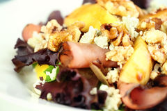Close up of Peach, Gorgonzola and Pastrami Salad Royalty Free Stock Image