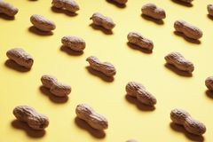Peanuts arranged in rows on yellow background royalty free stock photography