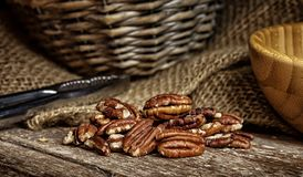 Pecan nut on wooden background Stock Photo