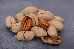 Close-up pecan nuts. Vegetarian and healthy food concept Royalty Free Stock Photo