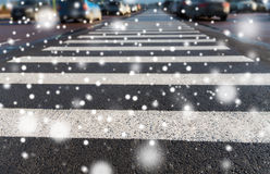 Close up of pedestrian crosswalk on city parking Stock Photography