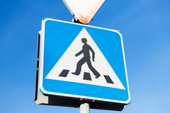 Close up of pedestrian crosswalk road sign Stock Image