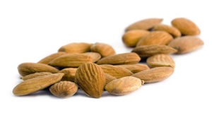 Almonds on white background Royalty Free Stock Images