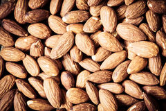 Close up the Peeled almonds nut background Royalty Free Stock Photos