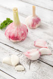 Close-up with peeled garlic Royalty Free Stock Photos