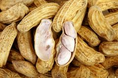 Close up of peeled peanut. Peanuts background Royalty Free Stock Photography