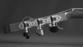 Close-up of the pegbox of an acoustic guitar. In gray scale Royalty Free Stock Photography