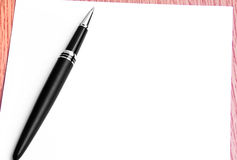 Close Up Pen And Blank Paper For Writing Notes Royalty Free Stock Photography
