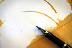 Close up pen with blank white paper on wood Royalty Free Stock Photo
