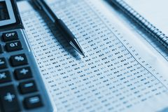 close up pen with calculator on business report, finance account royalty free stock photography