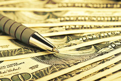 Close Up Pen On The Money Royalty Free Stock Images