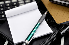 Close up pen on notepad Royalty Free Stock Photo