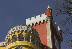 Close up of Pena Castle in Sintra Royalty Free Stock Images