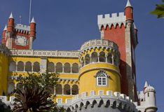 Close up of Pena Castle in Sintra, Portugal Royalty Free Stock Photo
