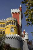 Close up of Pena Castle in Sintra Royalty Free Stock Photos