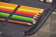 Close up on pencil case on table background Stock Images