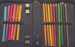 Close up on pencil case on table background Stock Photos