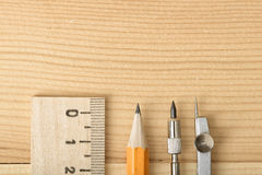 Close-up of pencil, compass and centimeter ruler. Stock Images