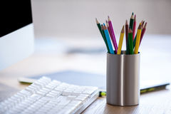 Close up of pencil holder Royalty Free Stock Photo