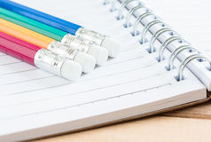 Close-up pencil on notebook Stock Photography