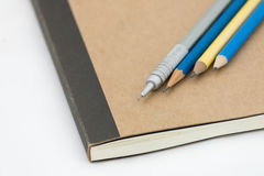 Close up pencil pen and notebook Royalty Free Stock Photos