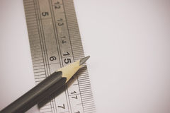 Close up of pencil with ruler Royalty Free Stock Photography