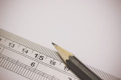 Close up of pencil with ruler Stock Image