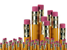 Close Up Pencils Background. Number two pencils standing up, with erasers visible, over a white background Stock Photo