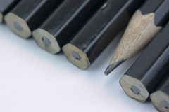 Close up of pencils in a line Royalty Free Stock Image