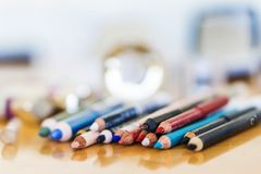 Close-up pencils makeup. Beauty fashion concept. royalty free stock images