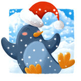 Close up penguin christmas card Royalty Free Stock Photography