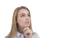 Close up of pensive blond woman, isolated Royalty Free Stock Photos