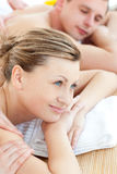 Close-up of a pensive woman having a massage Royalty Free Stock Photo