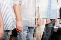 Close up of peope holding hands together during the training royalty free stock photos