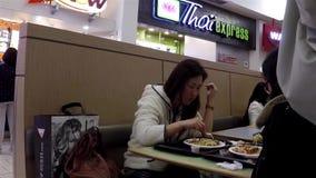 Close up people enjoying meal stock video