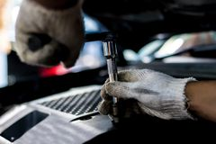 Close up, People are repair a car stock image