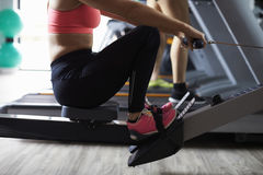 Close Up Of People Using Equipment In Busy Gym Royalty Free Stock Photos