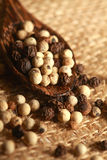 Close up of the pepper. Close up of the white pepper and black pepper Stock Images